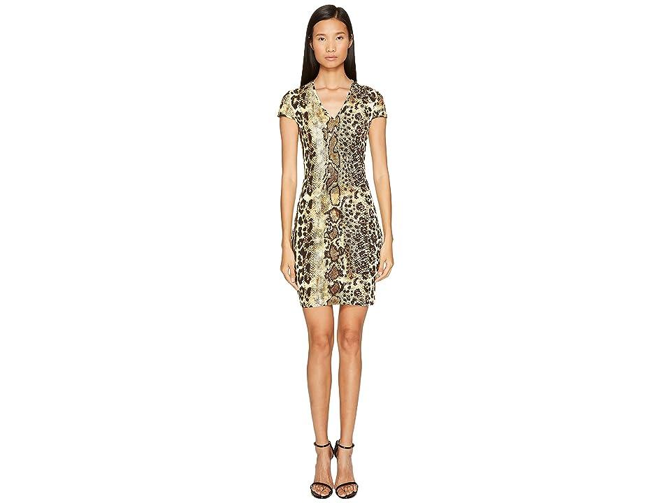 Just Cavalli Short Sleeve V-Neck Mixed Animal Print Jersey Dress (Natural) Women