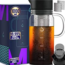 100% Airtight Cold Brew Glass Coffee Maker Iced Tea Maker Juice Water Carafe Server with Removable Permanent Double Mesh S...