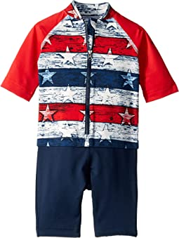 White Americana Stripe Print/Bright Red/Collegiate Navy