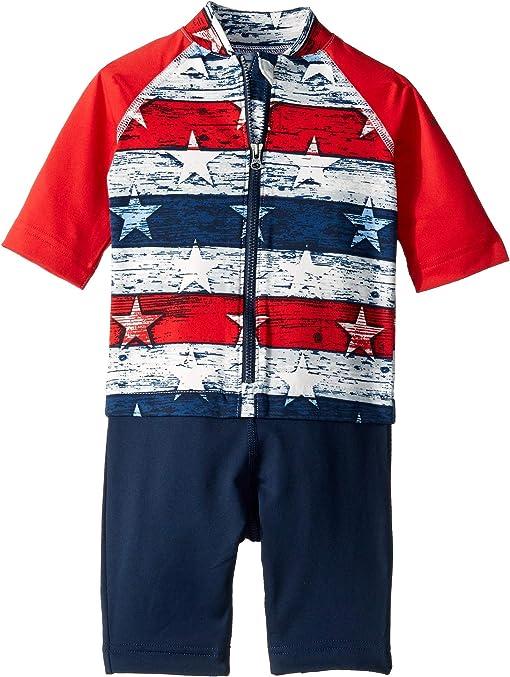 White Americana Stripe Print/Bright Red/Collegiate Navy