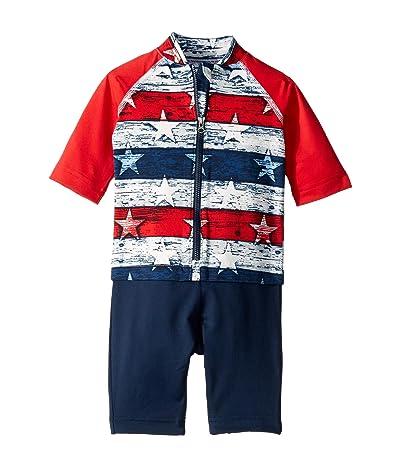 Columbia Kids Sandy Shorestm Sunguard Suit (Toddler) (White Americana Stripe Print/Bright Red/Collegiate Navy) Boy