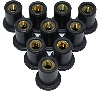 Omonic 10 Pack Rubber Well Nuts with M4 M5 M6 Brass Insert 4mm 5mm 6mm Metric Wellnuts Motorcycle Windscreen