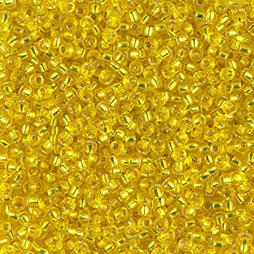 Miyuki Round Rocaille Seed Beads Size 11/0 24 Grams 5 Inch Tube Silver Lined Yellow 11-6