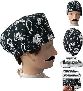 Cappello chirurgico SCHELETRI per Capelli Corti UOMO chirurgo, dentista, veterinario, asciugamano sulla fronte, regolabile...