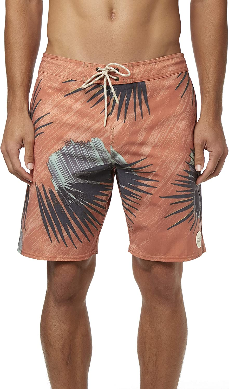 O'NEILL Men's Water Resistant Stretch Volley Swim Boardshort, 19 Inch Outseam (Spice/Palmade