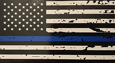 Blueline Flags Tattered Thin Blue Line Vinyl Reflective Decal, Black, White & Blue American Flag Sticker Honoring Our Men & Women of Law Enforcement, 3M
