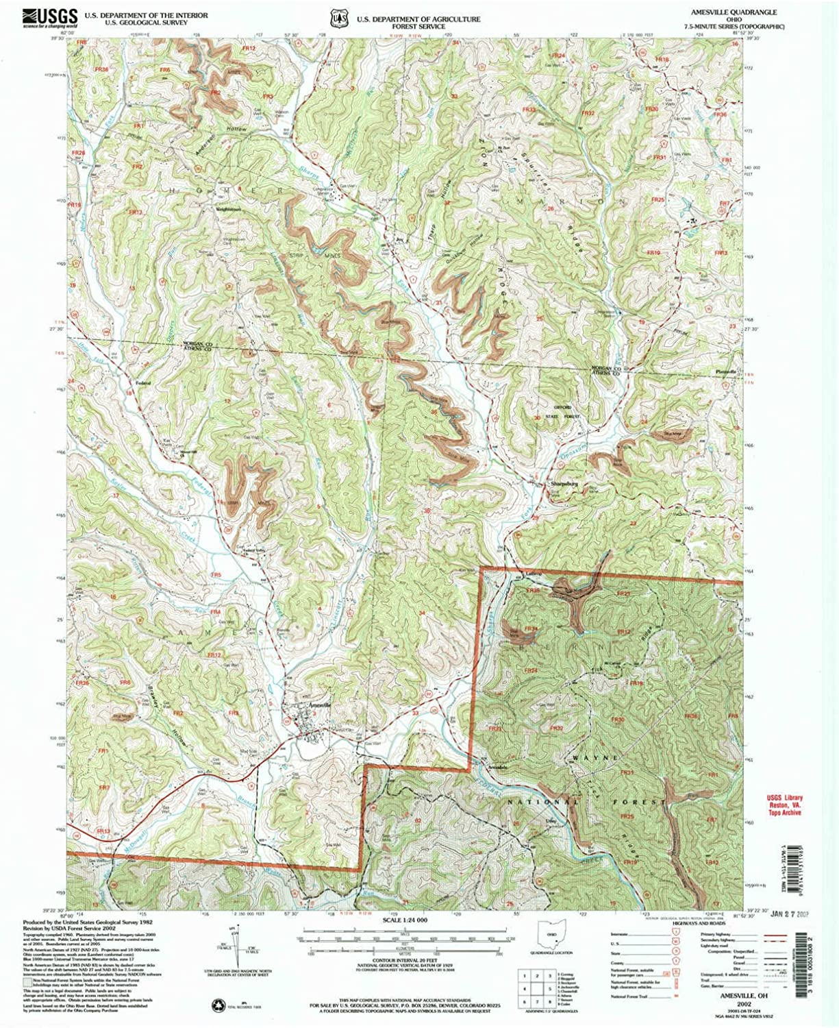 Amesville OH topo map, 1 24000 Scale, 7.5 X 7.5 Minute, Historical, 2002, Updated 2006, 26.8 x 21.9 in