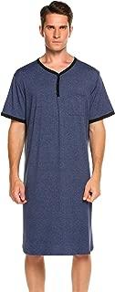 Ekouaer Men's Nightshirts Short Sleeve Nightwear Henley Sleepshirt Kaftan Pajama with Pocket