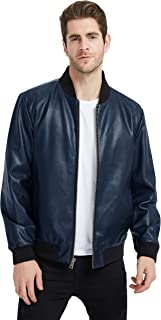 Men's Smooth Touch Faux Leather Bomber Jacket
