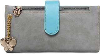 Butterflies Grey & Sky Blue PU Women's Wallet (BNS 2459GY)