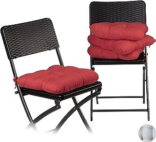 Relaxdays Set Cojines para Sillas, Exterior, Interior, Lavable, Comedor, Jardín, Mullido, Poliéster, 36x36 cm, Rojo, 4 Uds.