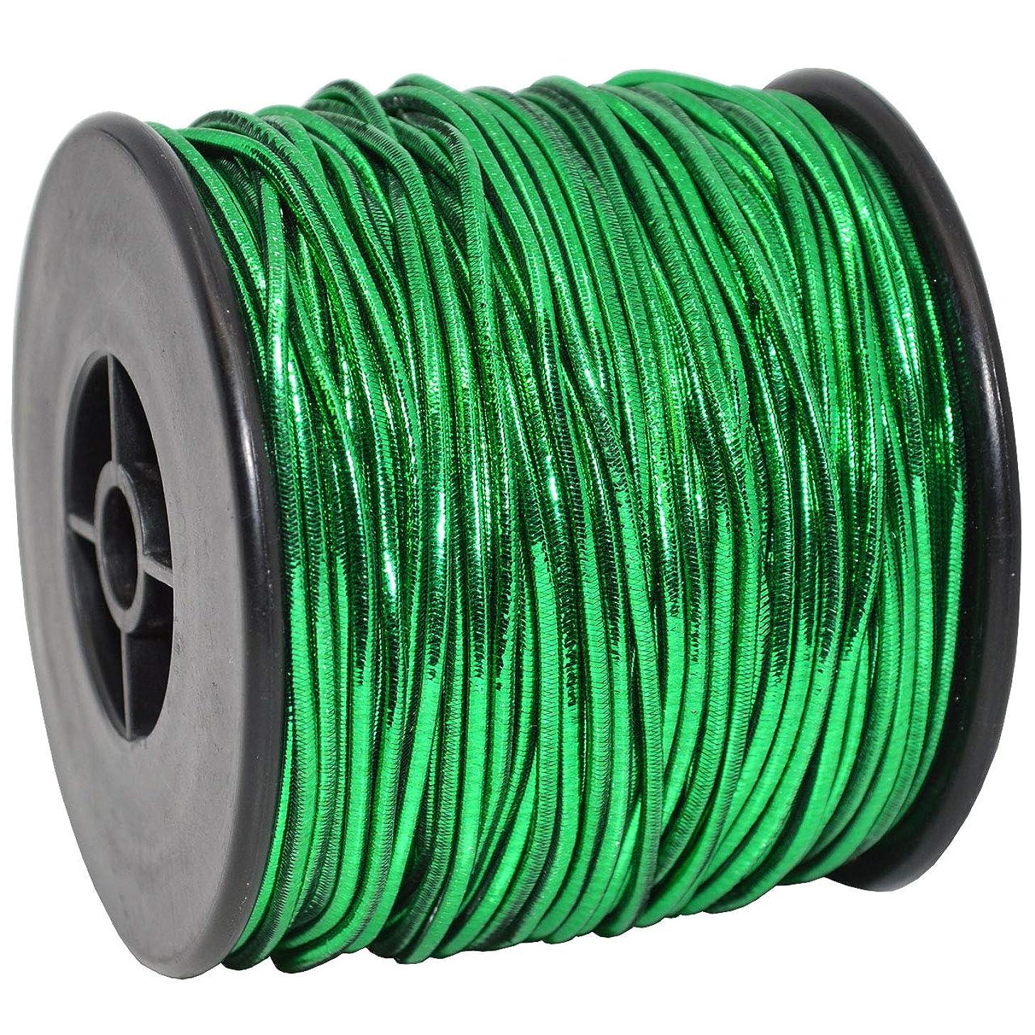 Morex Ribbon 1318 Elastic Stretch Cord Ribbon, 1/16 inch by 50 Yards, Green