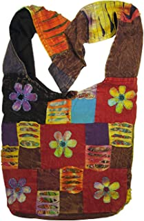 Happy Flowers Razor Cut Hippie Patchwork Sling Crossbody Boho Handbag Bohemian Purse