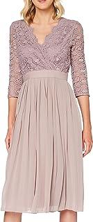 Little Mistress Leonora Oyster Crochet Pleated Midi Dress Vestito da Sera Donna