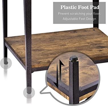Allewie Rustic End Table with Storage Shelf for Living Room, Night Stand for Bedroom, 2-Tier Side Table with Rivet Design, Wo