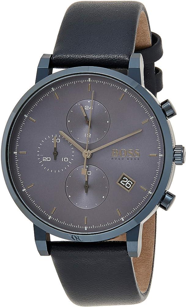 Hugo boss,orologio,cronografo da uomo,in acciaio e cinturino in pelle 1513778