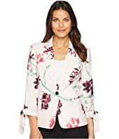 Nine West One-Button Notch Collar Floral Printed Jacket
