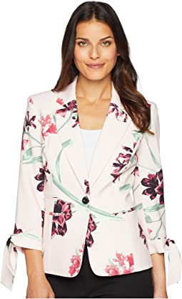 One-Button Notch Collar Floral Printed Jacket