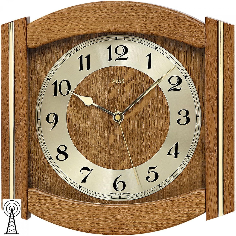 AMS Funk-Wanduhr, Holz, Mehrfarbig, 35 x 35 x 12 cm