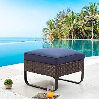 Beige Rustic Style Outdoor Patio and Balcony Steel Frame Footrests Stool ZAMAX Set of 2 Modern Design Poly Rattan Garden Stools with Thickly Padded Polyester Cushion