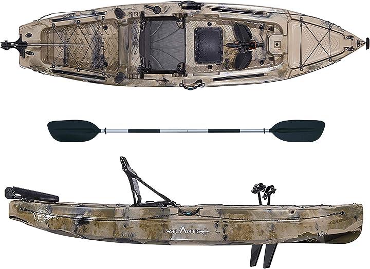Canoa da pesca a pedali sampei atlantis kayak- cm 390-2 gavoni - seggiolino - pagaia - timone B0851F78TB