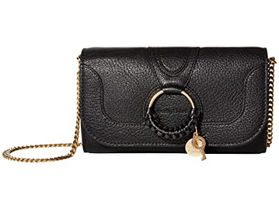 See by Chloe Hana Long Wallet with Flap (Black) Handbags
