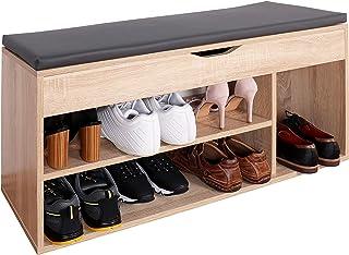 comprar comparacion RICOO WM034-ES-A, Banco Zapatero, 104x49x30cm, Armario Interior con Asiento, Organizador Zapatos, Mueble recibidor, Perche...