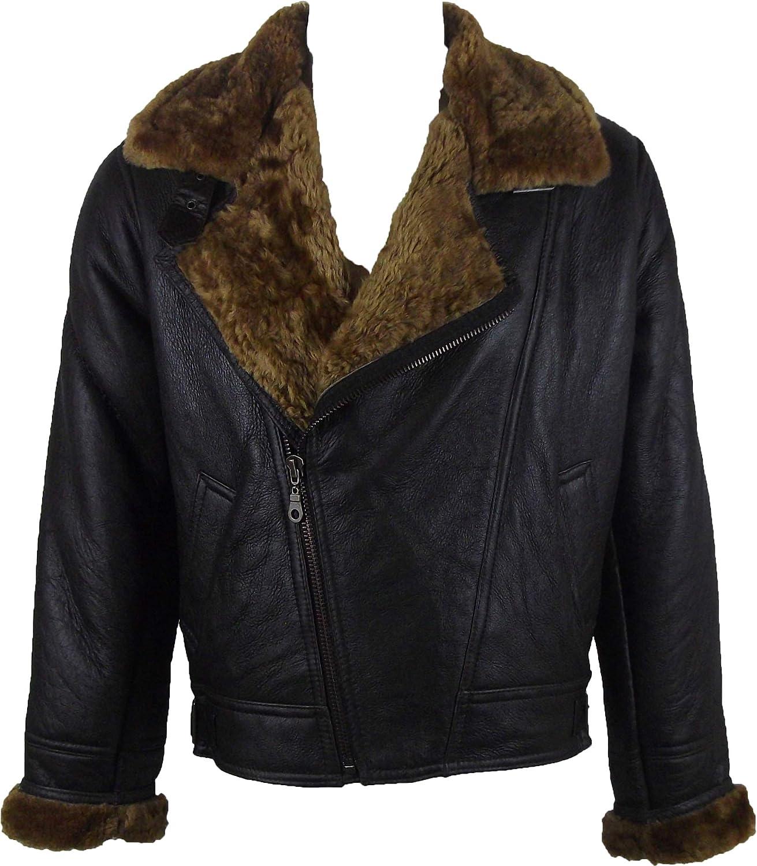 Unicorn Mens Sheepskin Cross Zip Jacket Brown with Brown Fur Leather Coat #CH