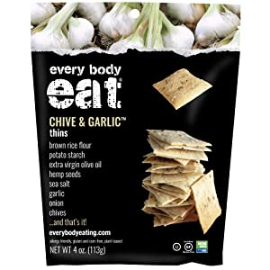 Every Body Eat Snack Thins, Chive and Garlic Flavor, Vegan, Gluten Free and Dairy Free (Pack of 2)
