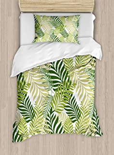 Twin XL Extra Long Bedding Set,Leaf Duvet Cover Set,Tropic Exotic Palm Tree Leaves Natural Botanical Spring Summer Contemporary Graphic,1 Comforter Cover 1 Bed Sheets 2 Pillow Cases,Green Ecru