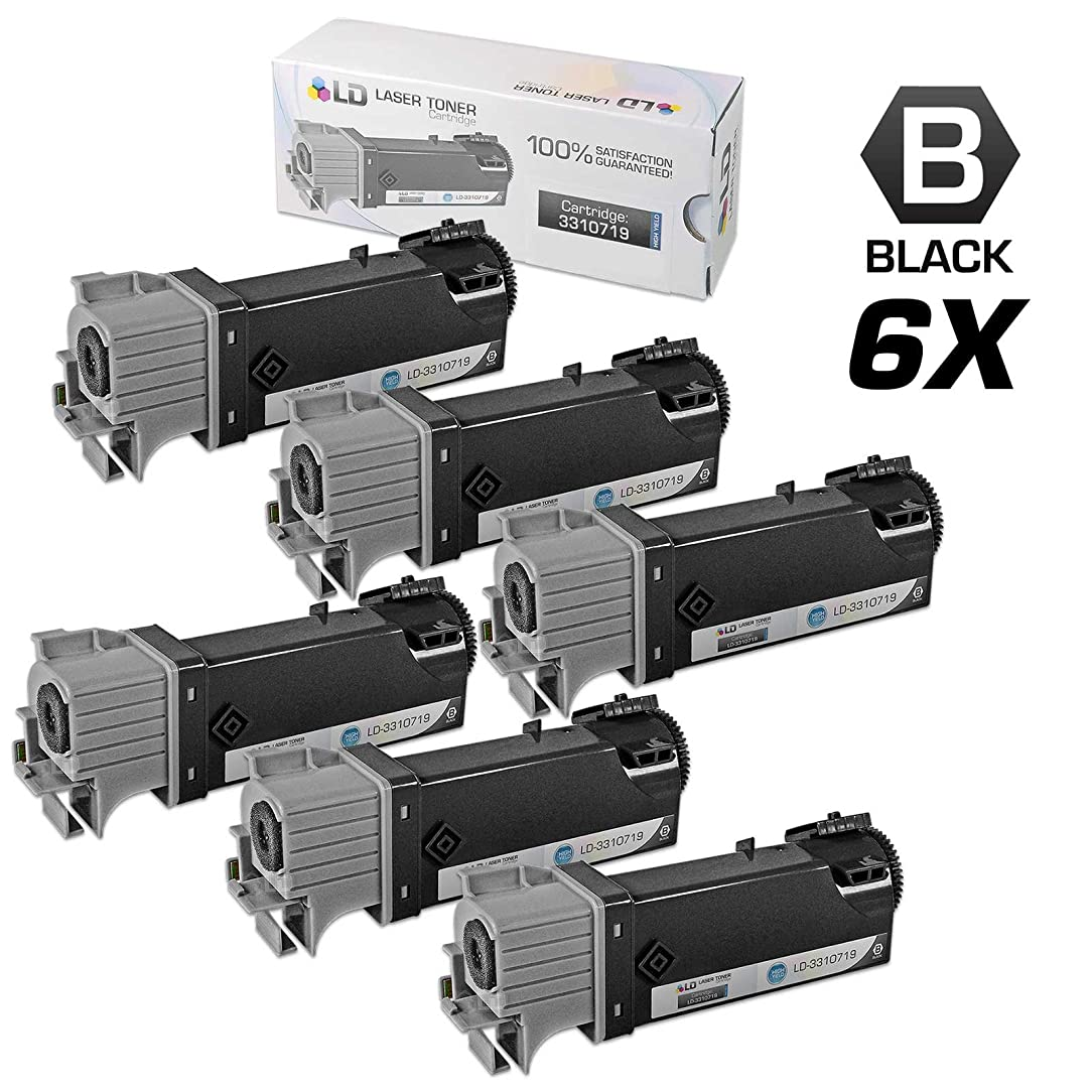 LD Compatible Toner Cartridge Replacements for Dell 331-0719 MY5TJ High Yield (Black, 6-Pack) awg11310056