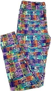 Tall Curvy TC Blue Multicolor Geometric Stripe Floral Leggings fits 12-18