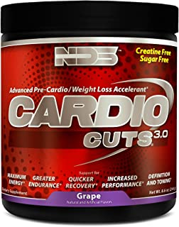 NDS Nutrition Cardio Cuts 3.0 - Advanced Pre-Cardio and Weight Loss Formula with L-Carnitine - Maximum Energy, Greater Endurance, Faster Recovery, Increased Performance - Grape - 40 Servings