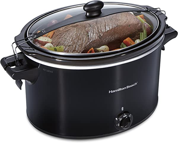 Hamilton Beach Extra Large Stay Or Go Slow Cooker 10 Quart Capacity Clip Tight Sealed Lid Black 33195