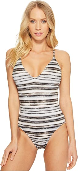 Bamboo Stripe Strappy Back One-Piece