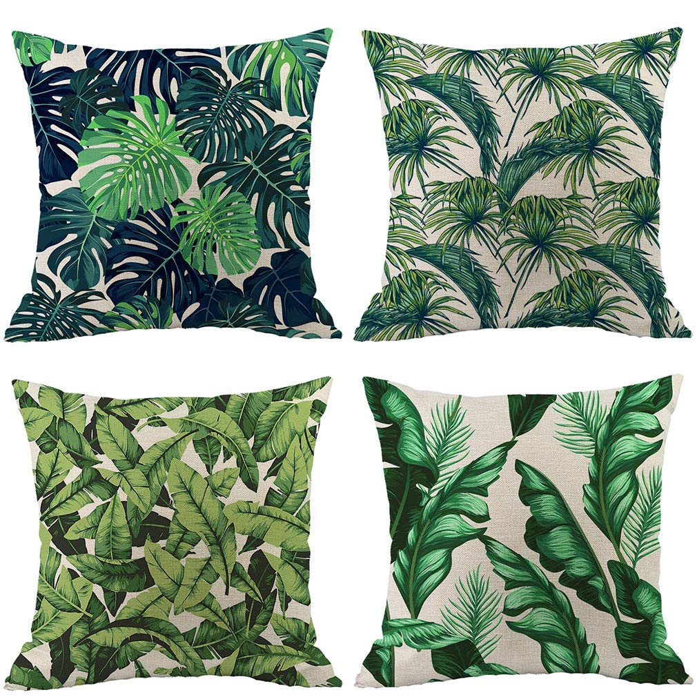 Pack of 4 Tropical Leaves Throw Pillow Cover Decorative Cotton Linen Decorative Sofa Cushion Covers For Living Room Bedroom 16