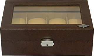 Laveri Faux Leather 8 Watches Glass Top Storage Box For Unisex