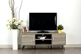 Weathered Grey Oak Finish TV Entertainment Center Console Cabinet Stand with Two Doors and Shelves