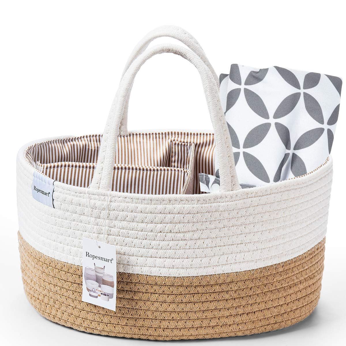 Ropesmart Baby Diaper Caddy Organizer,Cotton Rope Shower Gift Basket Storage Bin for Table /& Car Changing with Removable dividers,Portable Changing Pad Inc Gray