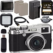 Fujifilm X100F Digital Camera Silver 128GB + Battery + Charger + Card + HDMI Cable + Memory Card Wallet + Card Reader + LED Light Bundle