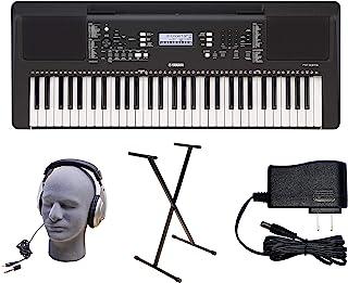 Yamaha PSR-E373 PKY Paquete de teclado premium de 61 teclas con fuente de alimentación, soporte atornillado y auriculares (YAM PSRE373