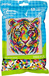 Perler Beads Rainbow Tiger Pattern and Fuse Bead Kit, 11'' X 11'', 3503Pc, Multicolor