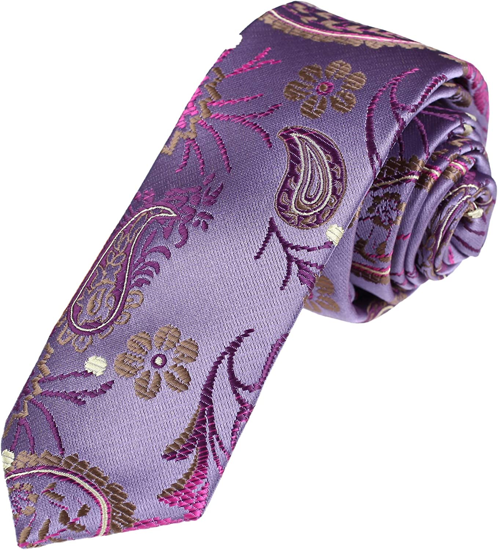 Dan Smith Patterned Slim Necktie Microfiber Skinny Tie Formal Wear With Box