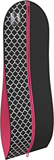 "Women's Dress Gown Garment Bag -72""x24"" and 10"" Tapered Gusset -Black/Fuchsia"