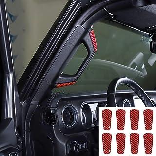 RT-TCZ Pillar A&B Grab Handles Decoration ABS Cover for 2018-2021 Jeep Wrangler JL 4 Door Red Carbon Fiber