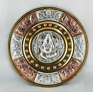 "JLine Arts Ganesha 8"" Thanjavur Art Plate Metal Art with Wall Hanging"