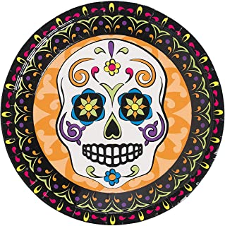 Fun Express - Day Of The Dead Dinner Plate (8pc) for Halloween - Party Supplies - Print Tableware - Print Plates & Bowls - Halloween - 8 Pieces