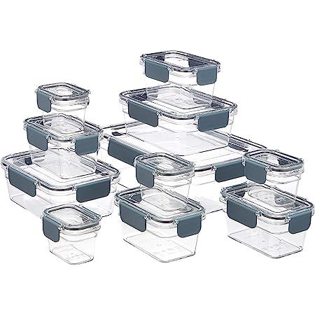Amazon Basics Boîte de rangement pour nourriture à clipser en plastique tritan, 11 pièces