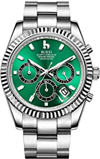 BUREI Men's Chronograph Watch Analog Dial with Date Window Sapphire Crystal Lens Stainless Steel Case and Band
