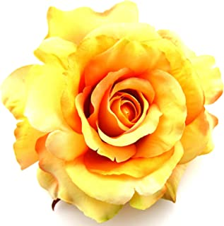 Full 5 Variegated Apricot Orange Yellow Rose Silk Flower Hair Clip